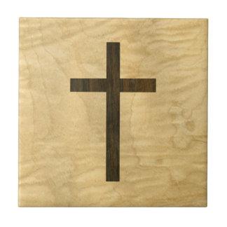 Basic Christian Cross Wooden Veneer Maple Rosewood Small Square Tile