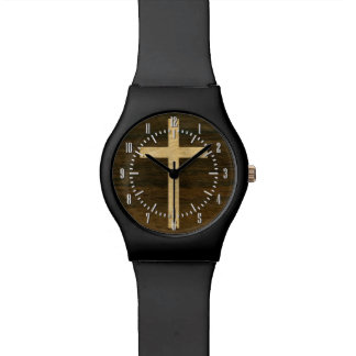 Basic Christian Cross Wooden Veneer Maple Rosewood Watch
