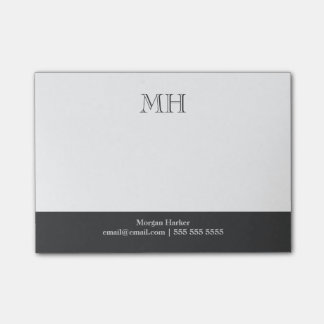 Basic Clean Initials White Gray Post-it Notes