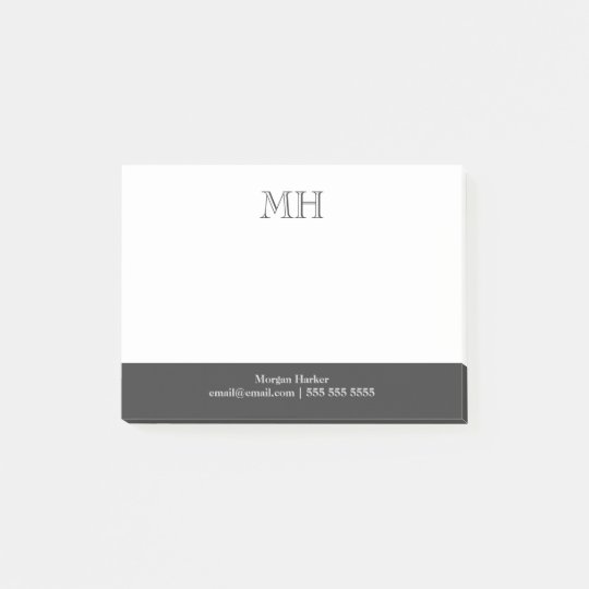 Basic Clean Initials White Grey Post-it Notes