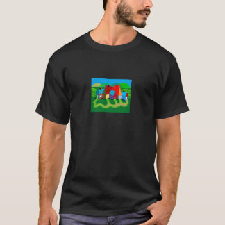 Basic Dark Tee Shirt with Folk Art