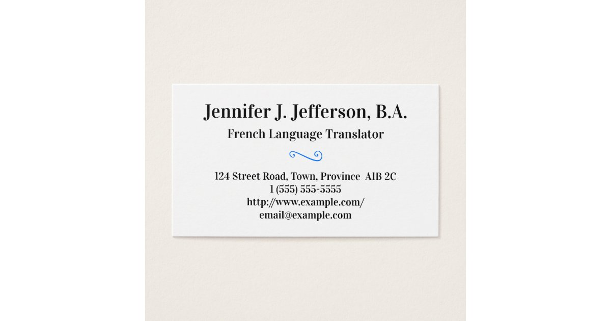 Basic French Translator Business Card | Zazzle.co.uk