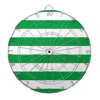 Basic Green and White Stripes Pattern Dartboard