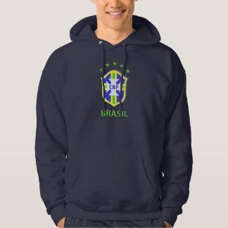 "Basic Hooded Sweatshirt, Navy Blue ""CBF Brazil"" Hoodie"