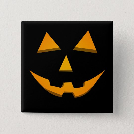 Basic Jack-O-Lantern Black W/Orange Glow 15 Cm Square Badge