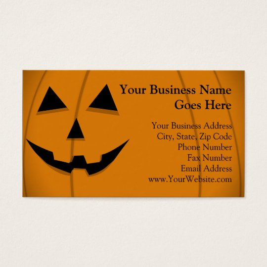 Basic Jack-O-Lantern Shape Design Business Card