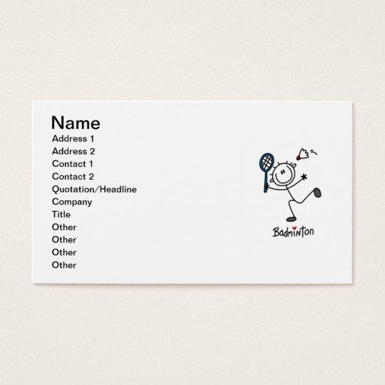 Basic Male Stick Figure Badminton Business Card