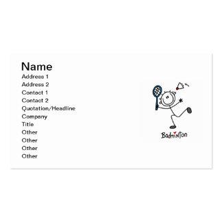 Basic Male Stick Figure Badminton Business Card Template