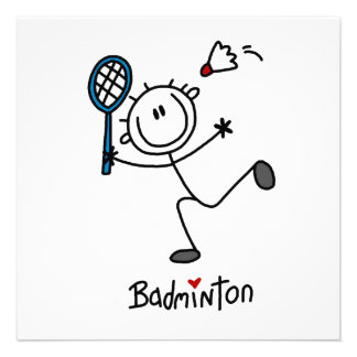 Basic Male Stick Figure Badminton Personalized Announcement