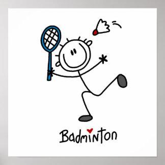 Basic Male Stick Figure Badminton Print