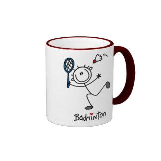 Basic Male Stick Figure Badminton Ringer Mug