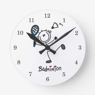 Basic Male Stick Figure Badminton Round Clock