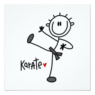 Basic Male Stick Figure Karate T-shirts and Gifts 13 Cm X 13 Cm Square Invitation Card