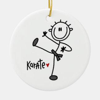 Basic Male Stick Figure Karate T-shirts and Gifts Round Ceramic Decoration