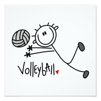 Basic Male Stick Figure Volleyball 13 Cm X 13 Cm Square Invitation Card