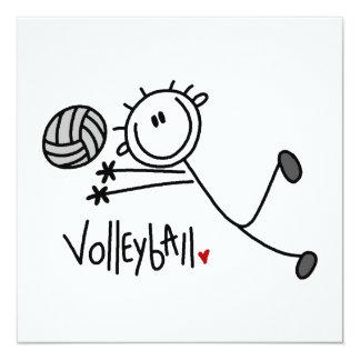 Basic Male Stick Figure Volleyball 13 Cm X 13 Cm Square Invitation Card