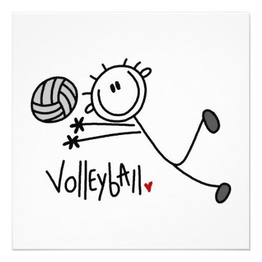 Basic Male Stick Figure Volleyball Custom Invites