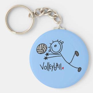 Basic Male Stick Figure Volleyball Keychain