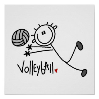 Basic Male Stick Figure Volleyball Print