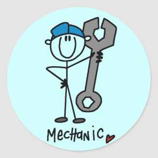 Basic Mechanic T-shirts and Gifts Classic Round Sticker