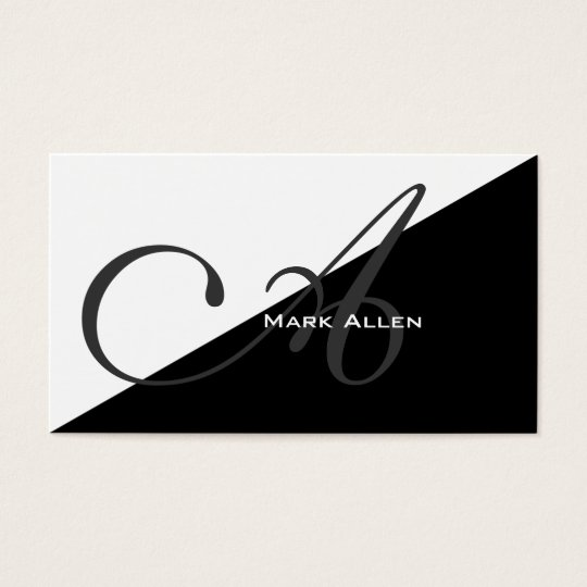 Basic Modern Black Triangle Monogram Business Card