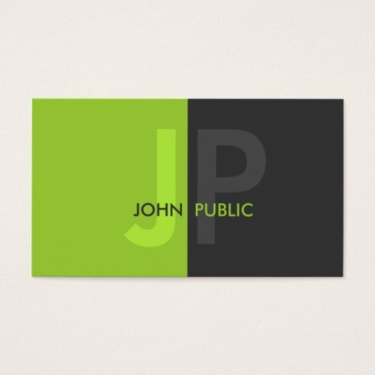 Basic Modern Two Colour Monogram Business Card
