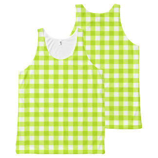 Basic Neon Lime Green Gingham All-Over Print Tank Top