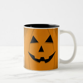 Basic Orange Jack-O-Lantern Shape Two-Tone Mug