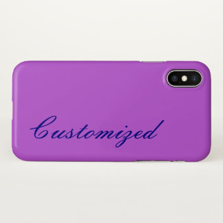 Basic Orchid Background and Blue Script-Like Name iPhone X Case