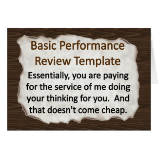 Basic Performance Review Note Card
