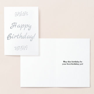 "Basic Silver Foil ""Happy Birthday!"" Card"