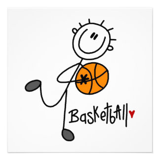 Basic Stick Figure Basketball T-shirts and Gifts Custom Invites