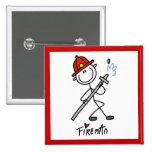 Basic Stick Figure Fireman T-shirts and Gifts Pinback Buttons