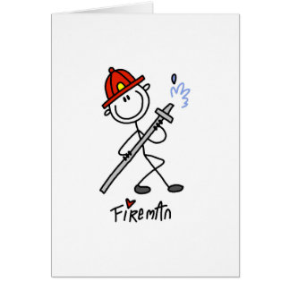 Basic Stick Figure Fireman T-shirts and Gifts Greeting Card