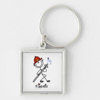 Basic Stick Figure Fireman T-shirts and Gifts Key Ring