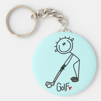Basic Stick Figure Golf T-shirts and Gifts Basic Round Button Key Ring