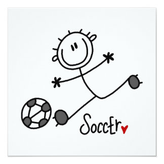 Basic Stick Figure Soccer Player T-shirts and Gift 13 Cm X 13 Cm Square Invitation Card
