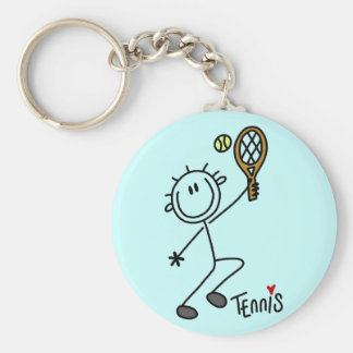 Basic Stick Figure Tennis Tshirts and Gifts Basic Round Button Key Ring