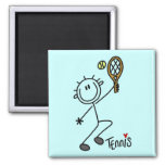 Basic Stick Figure Tennis Tshirts and Gifts Square Magnet