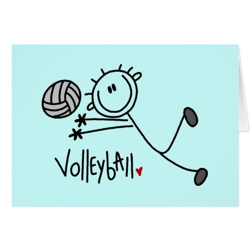Basic Stick Figure Volleyball Tshirts and Gifts Cards