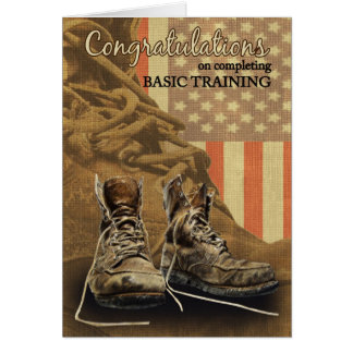 Basic Training Congratulations Combat Boots Greeting Card