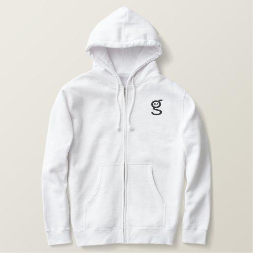 Basic White Zip Hoodie w Black Logo