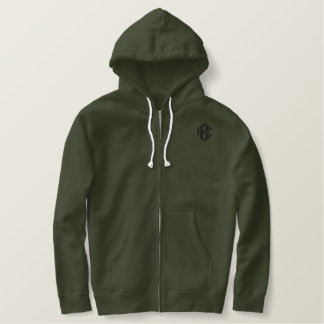 Basic Zip Hoodie Army Green Monogram Template