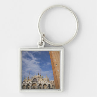 Basilica and Bell Tower St Mark's Square Venice Silver-Colored Square Key Ring