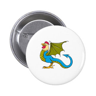 Basilisk Bat Wing Standing Cartoon 6 Cm Round Badge