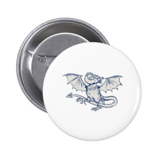 Basilisk Crowing Etching 6 Cm Round Badge