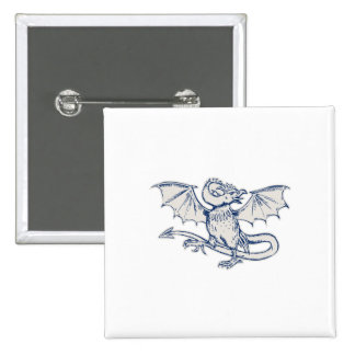 Basilisk Crowing Etching 15 Cm Square Badge