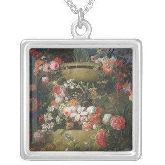 Basin and Flowers Silver Plated Necklace