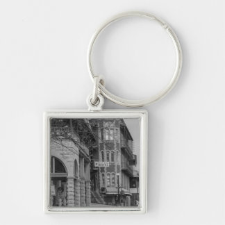 Basin Park And Flatiron Flats Grayscale Silver-Colored Square Key Ring