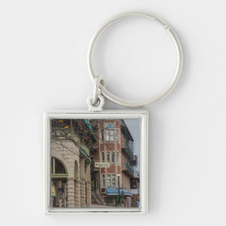 Basin Park And Flatiron Flats Silver-Colored Square Key Ring